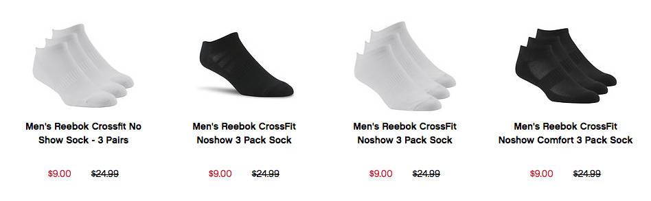 Reebok/锐步 CrossFit Noshow 短袜 三双只要$9!