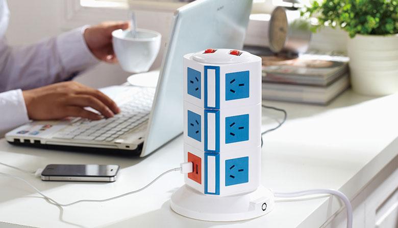 Safemore 立式智能插座+USB充电接口 插线板 团购价$35起!