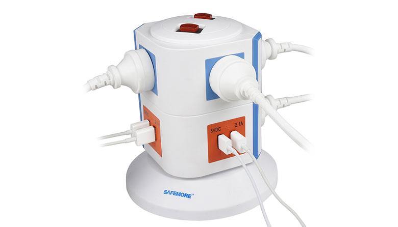 Safemore 立式智能插座+USB充电接口 插线板 团购价起!