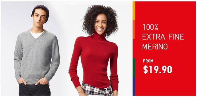优衣库/Uniqlo Extra Fine Merino 美利奴羊毛衫 仅从$19.9起!