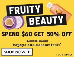 美体小铺/The Body Shop 水果美容类商品 购物满$60 可享五折优惠!