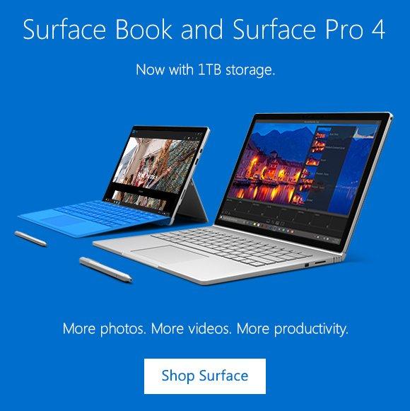 微软澳洲官网:1TB版Surface Book及Surface Pro 4 现已推出 现货发售中!