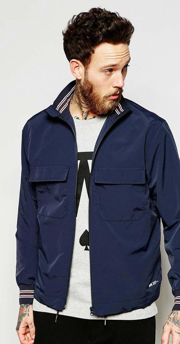 Wood Wood 男士深蓝立领夹克   $420