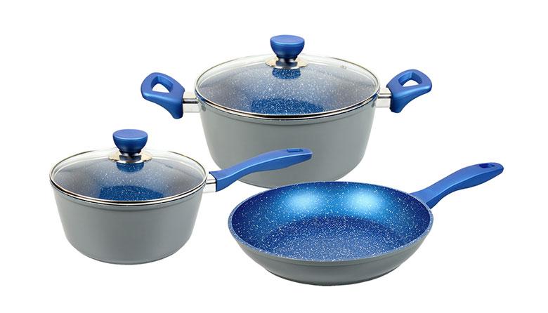 PFOA 蓝色大理石涂层锅具5件套