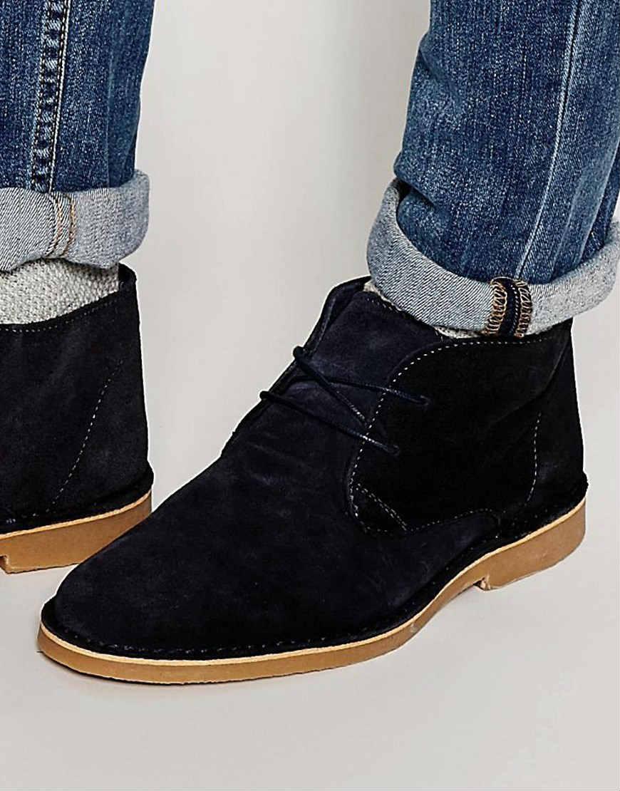 Selected Homme 麂皮沙漠男靴-黑色   $109!