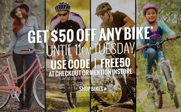 自行车专卖网站Reid Cycles 购买任意自行车 立减$50!