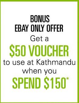在户外运动品牌Kathmandu eBay店购物满$150 送价值$50的代金券一张!