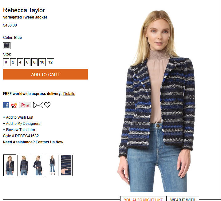 Rebecca Taylor 杂色花呢夹克  A$598.41