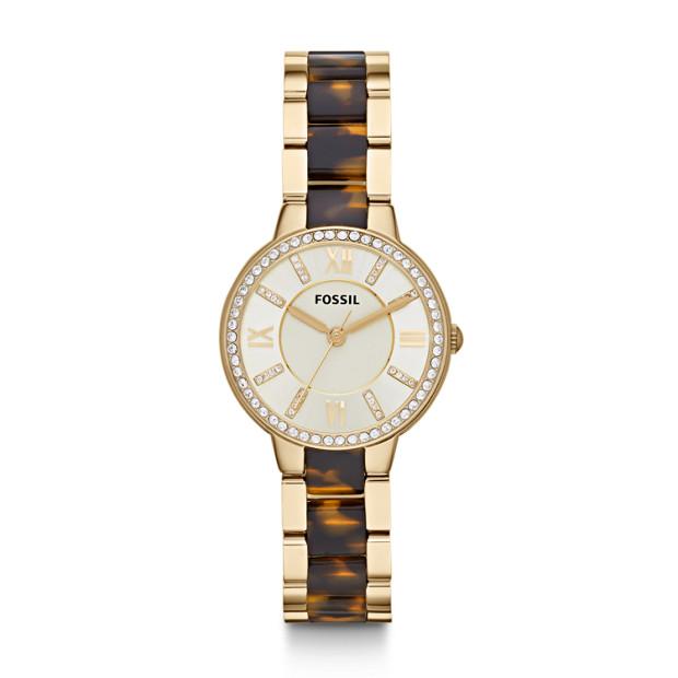 FOSSIL Virginia 金色表盘亮钻女士石英表 现价$160.3