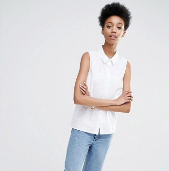 ADPT Tall 女士纯白无袖衬衫 现价$61!