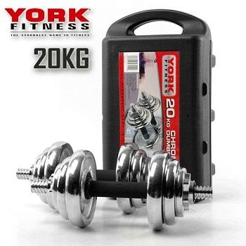 York 电镀20KG哑铃套装 现价$79.96!
