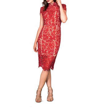 Seduce 红色蕾丝镂空连衣裙 现价$175.96!