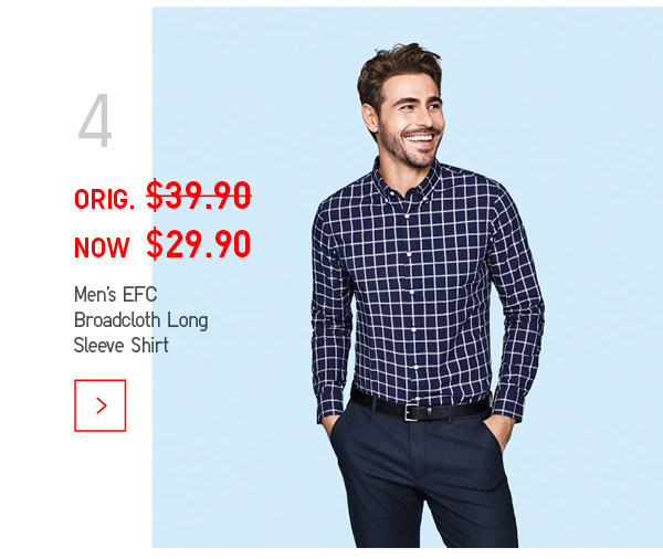 Uniqlo/优衣库 男子超细棉绒面呢 长袖衬衫 现价$29.9!