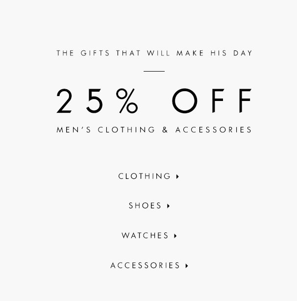 时尚品牌Guess 父亲节活动:男士商品及女士包包均可享七五折优惠!