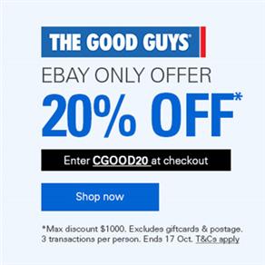 The Good Guys eBay 店 全场所有商品 八折优惠!