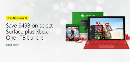微软澳洲官网购买任意 Surface Pro 4 或 Surface Book 将免费获得价值$498的Xbox One 1TB版套装!