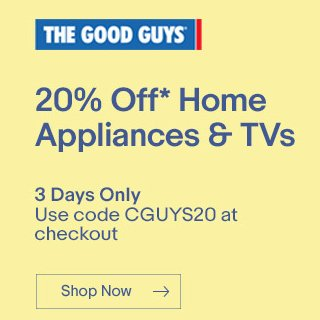 The Good Guys eBay店:电视、冰箱、吸尘器、厨房用品等大小家电 均可享受八折优惠!