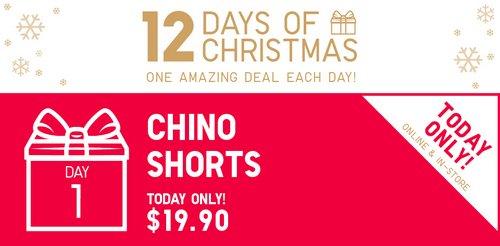 优衣库/Uniqlo 圣诞特惠第一天:男士/女士 Chino 短裤 现价$19.9!多款可选