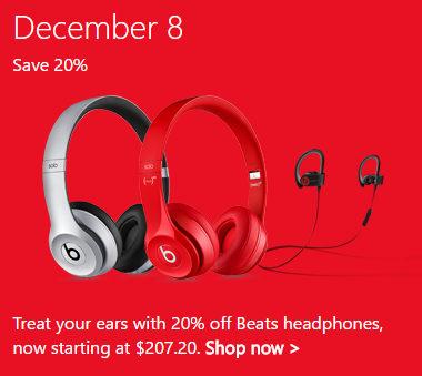 微软澳洲圣诞季特惠第4天:部分Beats品牌耳机 8折优惠!Solo2 有线耳机$207!Solo2 无线耳机$319!Powerbeats2 无线耳机$207!