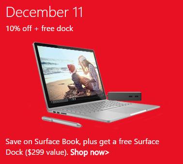 微软官网圣诞季活动第7天:Surface Book 系列产品 9折优惠!现价$2069起!并送价值$299 的 Surface Dock 扩展坞一个!
