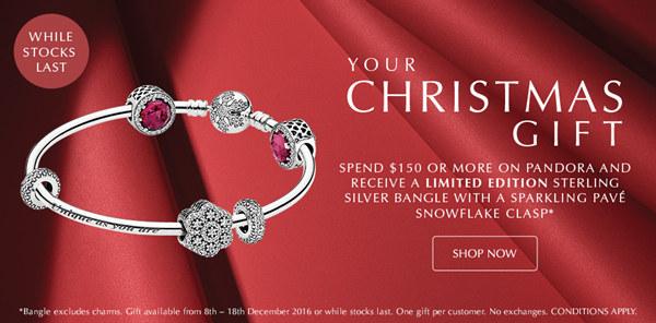 Pandora 澳洲官网圣诞礼物:购物满$150 送手环一个!