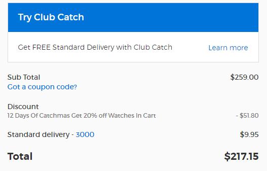 Catch Of The Day圣诞季特惠第二天:部分品牌太阳镜额外 7折优惠!手表 额外8折优惠!