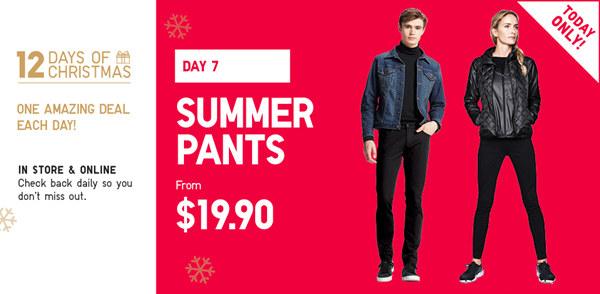 Uniqlo/优衣库官网圣诞季活动第7天:多款男女夏季裤子 现价只要$19.9!