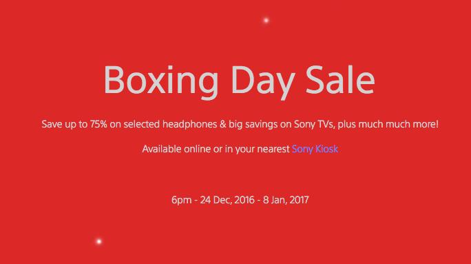 "Sony 澳洲官网""Boxing Day""活动:部分耳机、相机、电视等商品 低至25折!"