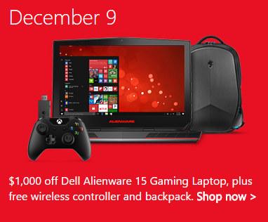 微软澳洲圣诞季特惠第5天:戴尔外星人Alienware 15 游戏笔记本 i7/16GB/1TB+256GB/4K屏 现价$2499!