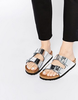 Birkenstock/勃肯 Arizona双排扣金属银色女士凉拖鞋 现价$109!
