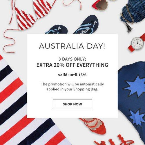 奢侈品特卖网站 YOOX 澳洲国庆节活动:全场所有商品额外8折优惠!