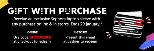 化妆品网站 Sephora 购买任意商品即可免费获得一个笔记本内胆包一个!