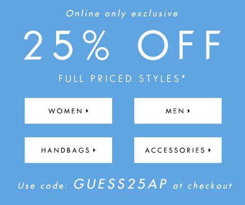 时尚品牌 Guess 一日特价活动:全场所有全价商品75折优惠!