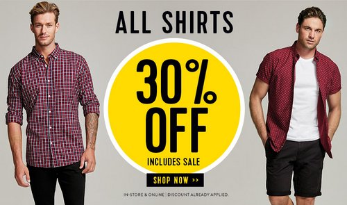 澳洲男装品牌 Connor 所有衬衫额外7折优惠!