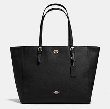 Coach 十字纹皮革旋锁大手袋 – 黑色 现价$775!