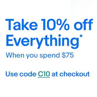 eBay 澳洲全场所有商品购物满$75 用码后可享额外9折优惠!