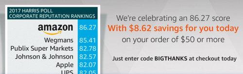 美国亚马逊 庆祝民调夺魁 满减活动:全场满$50美元立减$8.62!