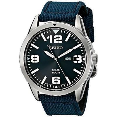 SEIKO/精工 Solar SNE329 男款太阳能石英腕表 – 蓝色表带 折后$98!