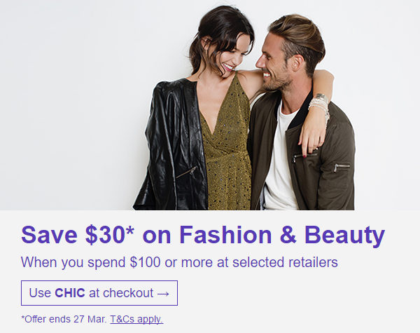 eBay 澳洲时尚服饰及美容类商品 购物满$100 用码后可立减30刀!