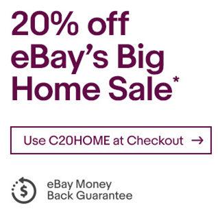 eBay 澳洲 家居产品特卖:多个商家全场额外8折优惠!