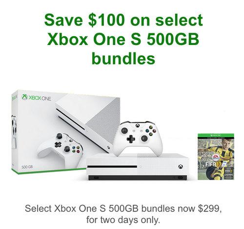 微软澳洲官网:部分 Xbox One S 500GB 游戏主机套装 现价$299!