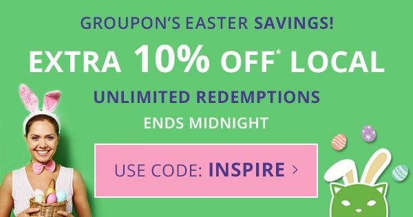 Groupon 复活节活动:所有本地类团购 在团购价基础上用码后再享额外9折优惠!