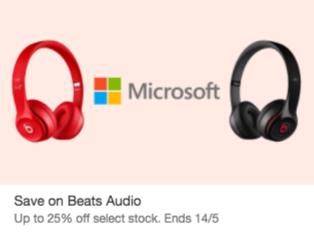 微软 eBay 店部分 Beats 耳机 75折优惠!Solo 2 无线耳机$284!Solo 2 有线及 PowerBeats 2 均只要$184!