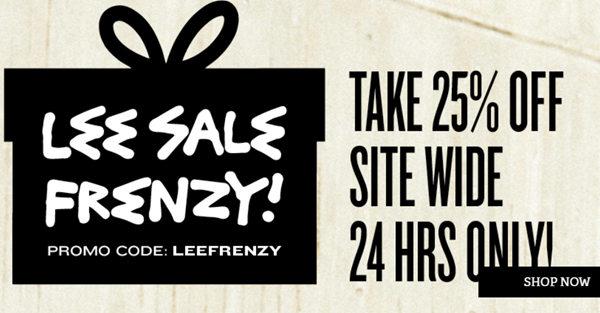 时尚品牌 Lee Jeans 全场所有商品用码后可享额外75折优惠!