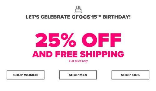 鞋履品牌 Crocs 周年庆活动:所有全价商品额外75折优惠!