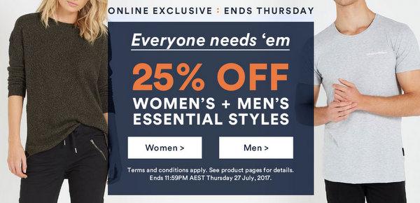 澳洲品牌 Cotton On 部分精选男女服饰额外75折优惠!