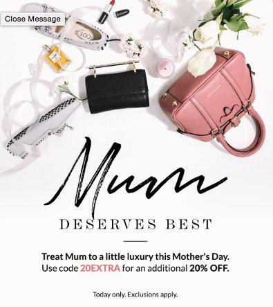 奢侈品特卖网站 Reebonz 母亲节活动:在原本特价基础上再享额外8折优惠!