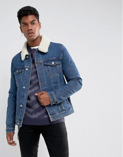 ASOS 男士羊毛领修身牛仔夹克