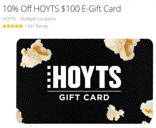 价值100刀的 Hoyts 电影院代金券 现团购价只要$90!
