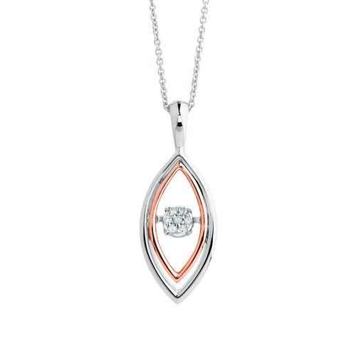 Michael Hill 10ct 钻石吊坠玫瑰金纯银项链